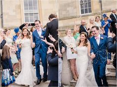 Botleys Mansion Weddings. A lace bridal gown and pink bow tie for the groom. Faye Cornhill fine art wedding photographer @bijouweddings