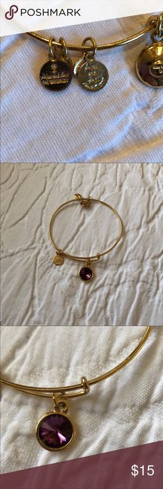 GOODBYE FEBRUARY SALE Alex and Ani bracelet Alex and Ani gold adjustable wire bracelet with purple amethyst birthstone for February. In great condition. Alex and Ani Jewelry Bracelets