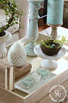 SPRING COFFEE TABLE VIGNETTE- adding spring colors-stonegableblog.com
