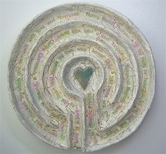 bliss- almost there, problems appear, disaster- break up, acceptance and finding peace in your heart. Glaze Finger Labyrinth - Pattern for a 4 circuit small finger labyrinth Nail Swag, Labyrinth Maze, Meditation, Painted Paper, Hand Painted, Model Magic, White Acrylic Paint, Art Therapy, Altar