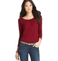 Shirred Neck Long Sleeve Tee - We garnished this soft cotton modal style with a pop of grosgrain trim and shirring at the neckline, for a pretty upgrade to everyday. Scoop neck. Long sleeves.