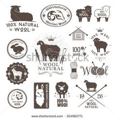 Wool labels, stickers and logos. Set of sheep, alpaca, rabbit and goat signs and emblems for 100% natural products.