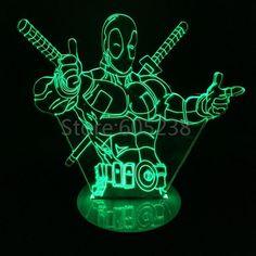 1Piece arrive Marvel Ati-hero Deadpool Figure Light 3D Bulbig Illusio Lamp LED Mood Light For Kid Laser Cut Lamps, Mood Lamps, Dead Pool, Cnc Projects, Led, Online Shopping For Women, Boy Room, Laser Cutting, Marvel Comics