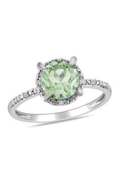 10K White Gold Pave Diamond Halo Green Amethyst Ring on HauteLook #fk #fashionkiosk #jewellery