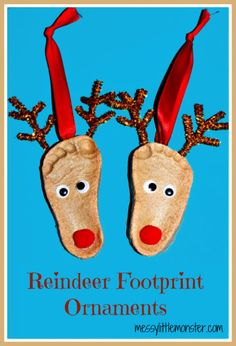 We love salt dough crafts! Here are some adorable Reindeer Footprints Ornaments that you can easily make yourself using a homemade recipe. #HandprintHolidays