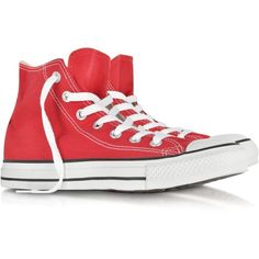 Converse Limited Edition Shoes All Star Red Canvas High Top Sneaker ($88) ❤ liked on Polyvore featuring shoes and sneakers