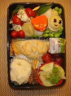 """First """"dinner"""" bento...for the 1st day of school!    Thai Cucumber Salad    3 oz rice vinegar  1 oz sake  6 oz sugar  1/2 oz fish sauce (na plam)  1/2 tsp chopped garlic  1/2 tsp garlic chili paste (optional)  2 cucumbers, peeled and thinly sliced  1/2 oz. cila Get a Free copy of our """"Food Factor"""" book about 7 strategies to easy and completely stop Emotional Eating, Food Binges and Late Night Eating ...."""