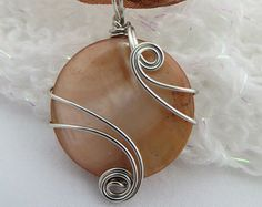 Brown Mother of Pearl Pendant, Brown Shell Wire Wrapped Pendant, Silver Wire Wrapped Cabachon