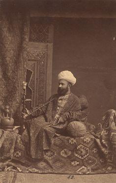 Antoine Sevruguin - Persian Smoking a Ghelyan, Iran - 1880c