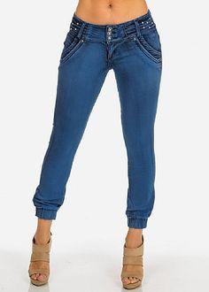 Butt Lifting Rhinestone Denim Joggers Ankle Jeans