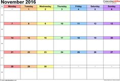 November Calendar 2016