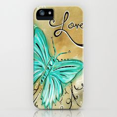 Decorative Butterfly Art Original Inspirational Painting LIVE AND LOVE by MADART iPhone Case by Megan Aroon Duncanson ~ MADART - $35.00