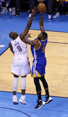 Oklahoma City\'s Serge Ibaka (9) blocks the shot of Golden State\'s Festus Ezeli (31) during Game 4 of the Western Conference finals in the NBA playoffs between the Oklahoma City Thunder and the Golden State Warriors at Chesapeake Energy Arena in Oklahoma City, Tuesday, May 24, 2016. Photo by Sarah Phipps, The Oklahoman