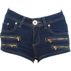 Navy Blue Zip Detail Denim Hotpants ($24) ❤ liked on Polyvore
