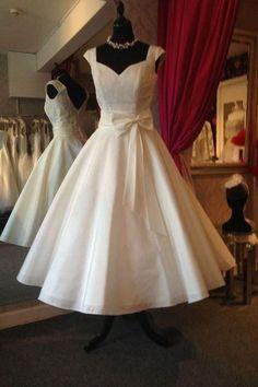 Cute A-line V Back Wedding Gowns,Sleeveless Tea Length Beach Wedding Dress With Bowknot OMW46 Wedding Gowns, Cheap Wedding Dress, Beach Wedding Dress, Formal Dress, Bridesmaid Dress, Simple Wedding Dress.