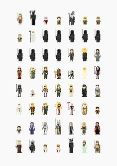 The characters from cult movies as version designed by the illustrator Fitz Fitzpatrick. It includes Alien, Back to the Future, Star Wars, but also The Lord of the Rings, Monty Python and Indiana Jones. Tolkien, 8 Bits, Game Character, Character Design, 8 Bit Art, Pixel Art Games, Cult Movies, Films, Sprites