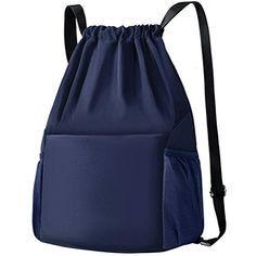 Free,Drawstring Bag Nylon Gym Sack Sport Sackpack with Shoes Compartment, Blue