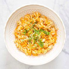 Brown Rice Fusilli With Creamy Sweet Potato Sauce — Kale Me Maybe