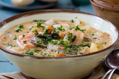 Seafood chowder recipe, Viva – visit Food Hub for New Zealand recipes using lo. Chowder Recipes, Seafood Recipes, Soup Recipes, Kiwi Recipes, Vegan Recipes, Cooking Recipes, New Zealand Food And Drink, Food Hub, International Recipes