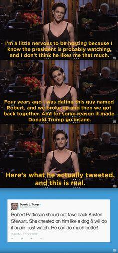 Kristen on Donald Trump Naomi Scott, Cool Things To Make, Good Things, Amazing Things, Robert Pattinson And Kristen, Funny Memes, Hilarious, Kate Mckinnon, Phoebe Tonkin