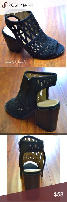 Peep Toe Sandal Booties Black cut out, sling back, peep toe sandal bootie. Trending chunky heel. Great staple to any wardrobe. Threads & Trends Shoes Ankle Boots & Booties