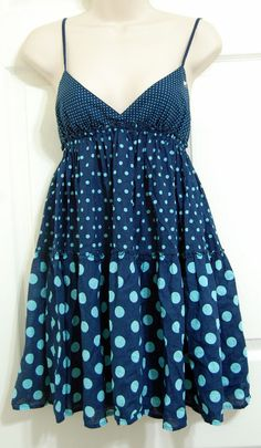 Victoria's Secret Pink Baby Doll Nightie Nightgown Blue Polka Dot Sz XS  #VictoriasSecret #BabydollChemise #Everyday