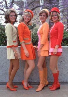 1960s flight attendants outfit suit mini dress orange pink pastel shoes boots…