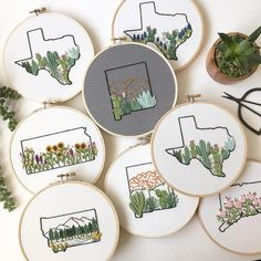 Paper Embroidery Patterns State embroidery hoop art by Lemon Made Shop // hand embroidery - Lemon Made Shop creates state embroidery that celebrates the place you live. She outlines the state then fills the design with the place's flowers and more. Embroidery Map, Hand Embroidery Stitches, Hand Embroidery Designs, Vintage Embroidery, Cross Stitch Embroidery, Embroidery Ideas, Hand Stitching, Knitting Stitches, Beginner Embroidery
