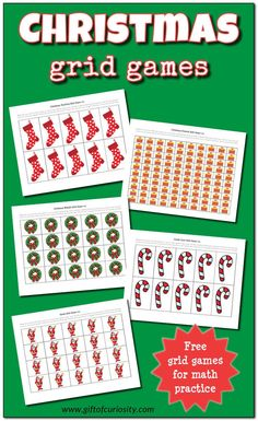 Free Christmas Grid Games printable with and options to help children work on basic math skills. Printable Christmas Games, Christmas Games For Kids, Preschool Christmas, Christmas Activities, All Things Christmas, Christmas Crafts, New Years Activities, Science Activities For Kids, School
