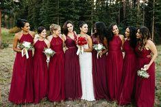 Elegant Summer Mountain Wedding in Aspen - red bridesmaids dresses Merlot Wedding, Burgundy Wedding, Red Wedding, Elegant Wedding, Fall Wedding, Dark Red Bridesmaid Dresses, Red Bridesmaids, Wedding Dresses, Wedding Attire