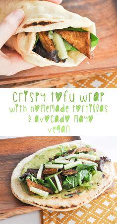 Vegan Crispy Tofu Wrap / Homemade Tortillas / Avocado Mayo use gf flour Tofu Recipes, Whole Food Recipes, Vegetarian Recipes, Cooking Recipes, Healthy Recipes, Cooking Tips, Vegan Foods, Vegan Dishes, Vegan Meals