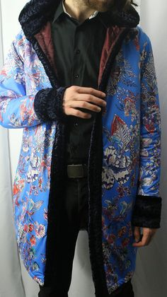 The Pimp Coat / Long Bomber Jacket / Bohemian Clothes / Music Festival Clothing / Gangster Fashion / Playa Outfit / Faux Fur/ Made To Order Music Festival Outfits, Festival Clothing, Long Bomber Jacket, Order Photos, Floral Fabric, Stay Warm, Going Out, Kimono Top, Trending Outfits