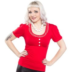 MISS FORTUNE JULIE TOP RED Miss Fortune's Julie top is just the right fit for any pinup lookin' for a little pop of color! This adorably cut top with polka dotted ruffle neckline & contrast buttons pairs perfectly with your vintage high waist skirts & bottoms. $50.00 #missfortune #pinup #pinuptop #ruffle #polkadot