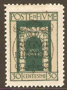 Fiume 1924 30c Myrtle-green - Regno d'Italia Overprint. SG218