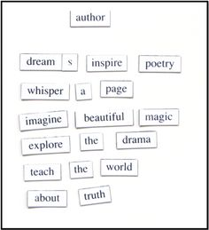 One teacher's tips for interactive and engaging ways to teach poetry, from a poetry magnet white board to hip-hop videos and songs. Magnetic Poetry, Classroom Solutions, Teaching Literature, Middle School, Bring It On, Author, Life, Teaching High Schools, Secondary School