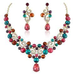 Luxury Art Deco Drop Dangle Necklace Earring Set Multi Austrian Crystal Gold GP | eBay