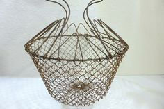 Vintage Wire Mesh Egg Basket Fruit Gathering Container   Collapsible  Farm  House Rustic Primitive Rustic  Country Kitchen Decor