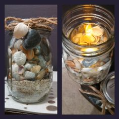 I made this souvenir from shells and sand collected at the beach: Votive candle holder (shown with tealight inside) inside a mason jar with sand on the bottom. Small shells slipped between the candle holder and mason jar.