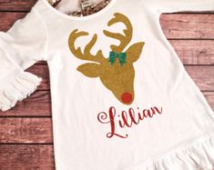 Red and Green Glitter Reindeer Christmas Dress My First by SnowSew