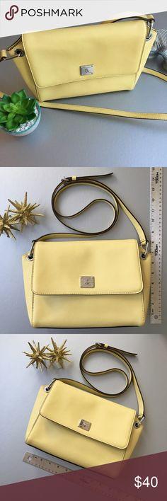 """fcca76ce7ea1 NWOT Lauren Ralph Lauren AGDON Leather Messenger The color is """"Lemon""""!  Think Limoncello"""