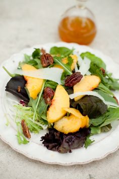 Greens with Peaches, Carmelized Rosemary Pecans and Golden Balsamic (gluten-free & grain-free)