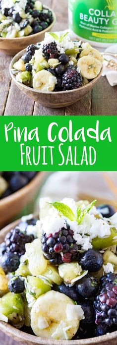 Pina Colada Fruit Salad is a refreshing, healthy twist on a classic fruit salad with a delicious beauty green dressing that offers additional health benefits. #ad