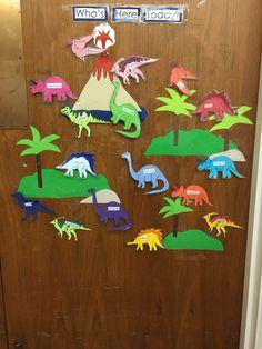 Preschool dinosaur attendance board Dinosaur Time, Preschool Dinosaur, Attendance Board, Grinch, Attendance Chart