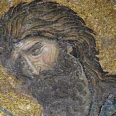 The face of John the Baptist from the great century Byzantine mosaic of the Deesis in the upper gallery of Hagia Sophia Hagia Sophia, Religious Images, Religious Art, Sainte Sophie, Fall Of Constantinople, Mosaic Portrait, Christian World, Byzantine Art, Roman Art