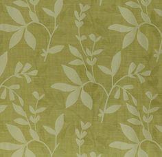 Green vine drapery fabric - Alexa Citrine by Charles Parsons Interiors