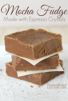"""Easy Mocha Fudge Recipe - Combine chocolate fudge with instant espresso crystals to create a mocha fudge recipe that is """"sinfully delicious"""" dessert. This also makes a lovely food gift. Coffee Fudge Recipes, Chocolate Recipes, Homemade Fudge, Homemade Candies, Homemade Marshmallows, Homemade Breads, Candy Recipes, Sweet Recipes, Dessert Recipes"""
