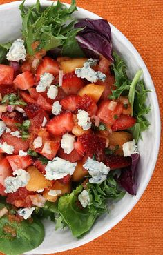 Strawberry- Melon Salad with Watermelon Vinaigrette #recipe #summer