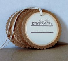 Mason Jar Tags,Hand Stamped Tags from the Kitchen of, Jar Tags, Food Tags, Set of 6