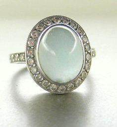 14k white gold diamond ring with cabochon milky aquamarine.  Engagement ring.. $2,100.00, via Etsy.