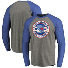 New York Rangers Hometown Collection I Am A Ranger Tri-Blend Raglan Long Sleeve T-Shirt - Ash/Royal